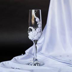 """Свадебные бокалы """"Белая роза"""""""
