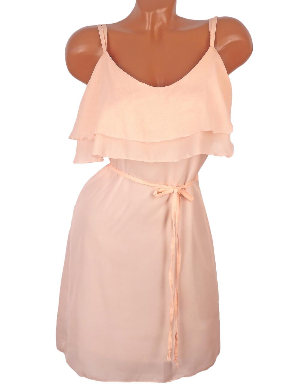 Шифоновое однотонное платье 46 (в расцветках)