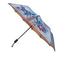 Женский зонт полуавтомат Bellissimo на 10 спиц с цветочным узором, бежевый,  2018-3, фото 1