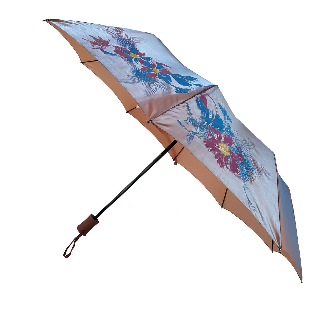 Женский зонт полуавтомат Bellissimo на 10 спиц с цветочным узором, бежевый,  2018-3