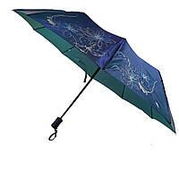 Женский зонт полуавтомат Bellissimo на 10 спиц с цветочным узором, синий, 2018-4, фото 1