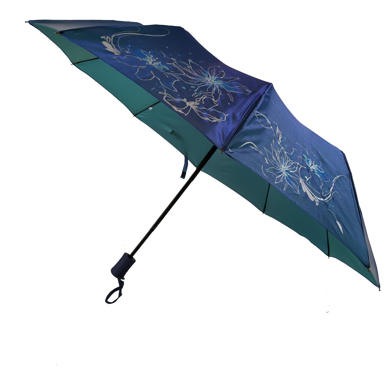 Женский зонт полуавтомат Bellissimo на 10 спиц с цветочным узором, синий, 2018-4