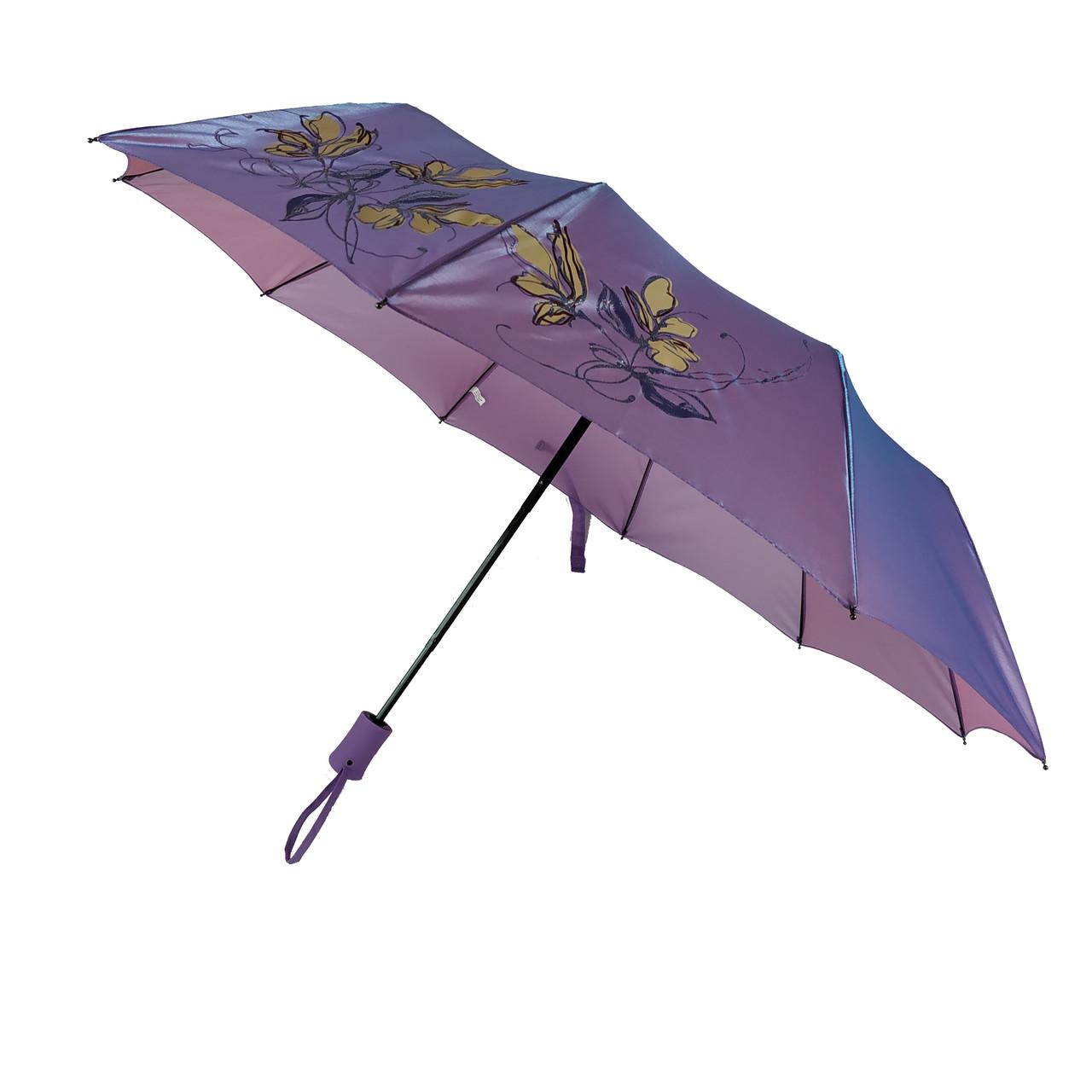 Женский зонт полуавтомат Bellissimo на 10 спиц с цветочным узором, фиолетовый, 2018-6