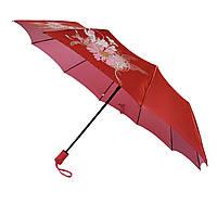 Женский зонт полуавтомат Bellissimo на 10 спиц с цветочным узором, красный хамелеон, 2018-9
