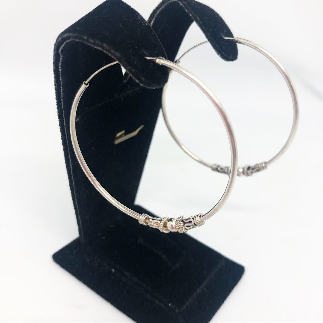 """Серьги кольца из серебра 925 Beauty Bar с декором """"узор фактура"""""""