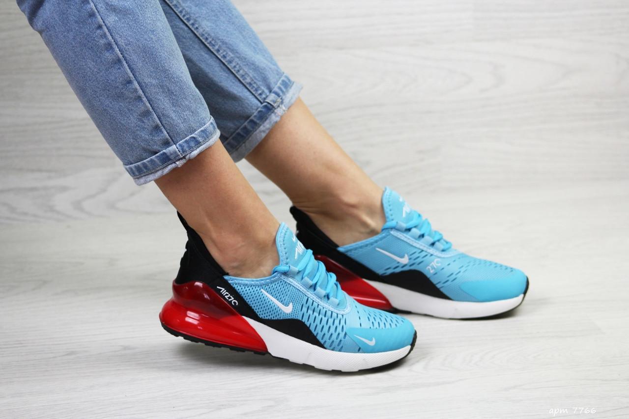 Женские кроссовки Nike Air Max 270 (голубо-красные)