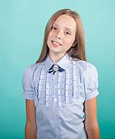 Школьная блузка  с декором рюшами-плиссе мод. 5178к голубая, фото 1