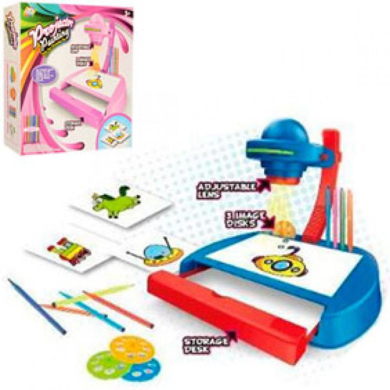 Проектор дитячий зі слайдами, фломастерами, світлом, 2 кольори, на батарейках