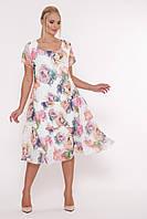 """Женское платье свободного кроя трапециевидной формы Катаисс белое """"Пион"""" / размер 54,56,58 / большие размеры"""