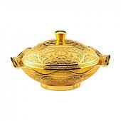 Конфетница Sena медная овальная золотая 17х15 см
