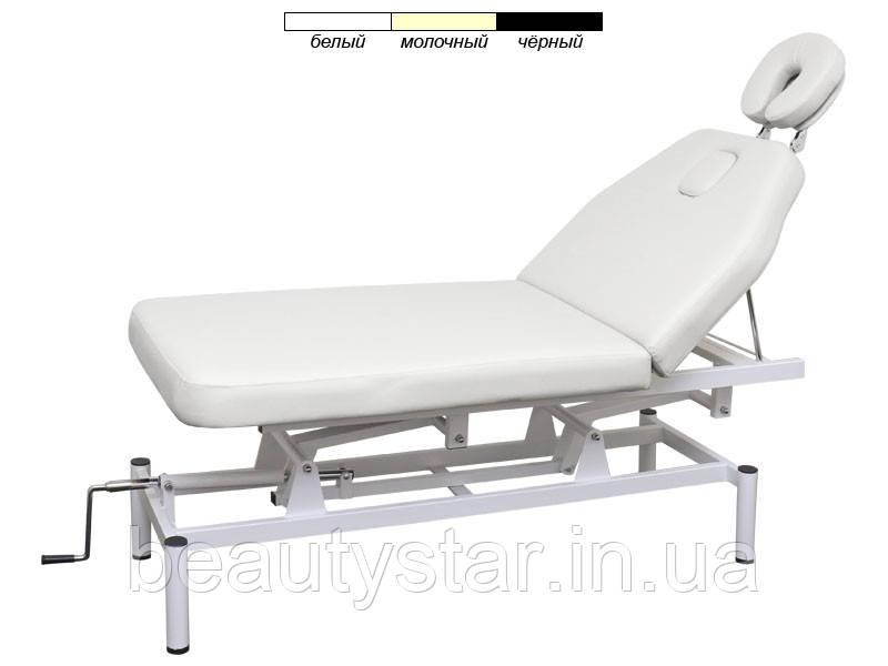 Масажний стіл, косметологічна кушетка механічна BS-257 2-х секційний з регульованою висотою Білий
