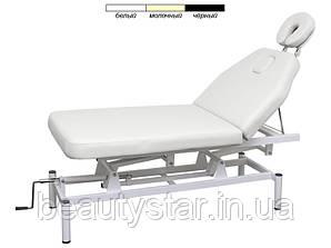 Массажный стол, косметологическая кушетка механическая BS-257 2-х секционный с регулируемой высотой Белый