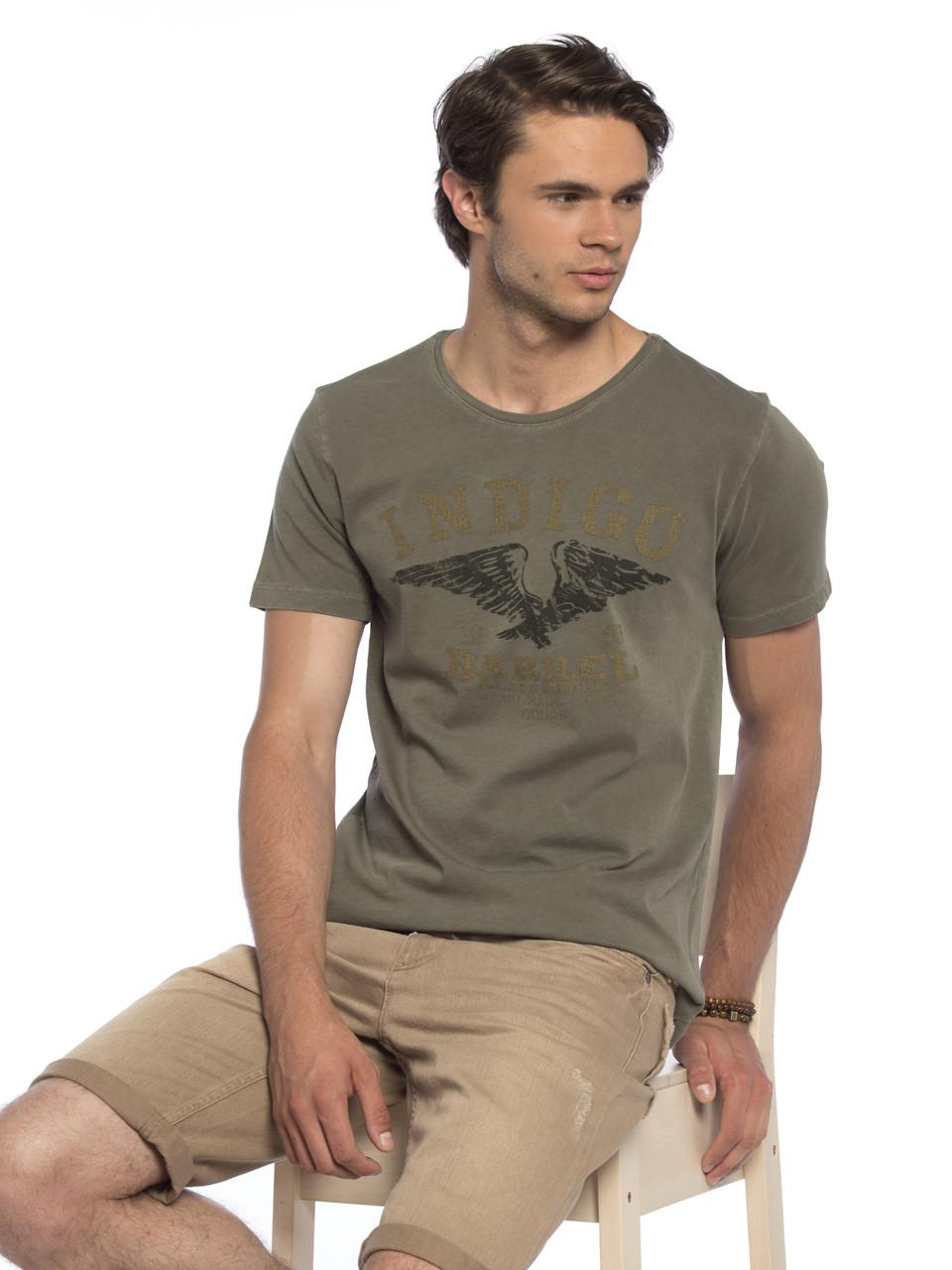 Мужская футболка Lc Waikiki / Лс Вайкики цвета хаки с надписью Indigo