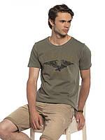 Мужская футболка Lc Waikiki / Лс Вайкики цвета хаки с надписью Indigo, фото 1