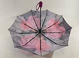 Женский атласный зонт автомат на 9 спиц крупные яркие  цветы , фото 2