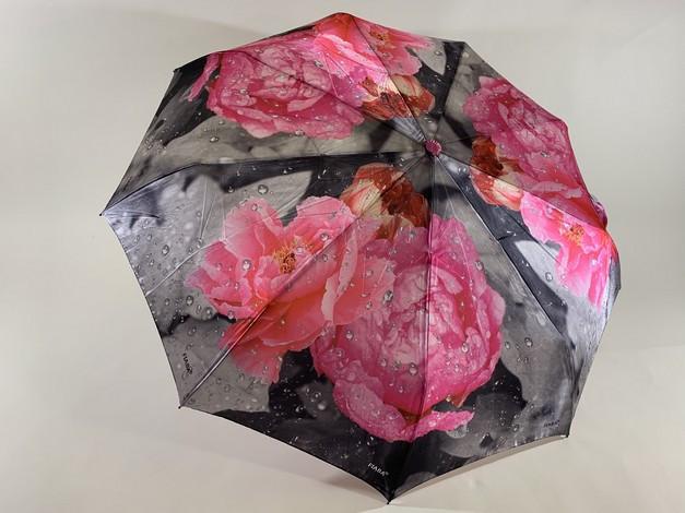 Женский атласный зонт автомат на 9 спиц крупные яркие  цветы