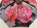 Женский атласный зонт автомат на 9 спиц крупные яркие  цветы , фото 5
