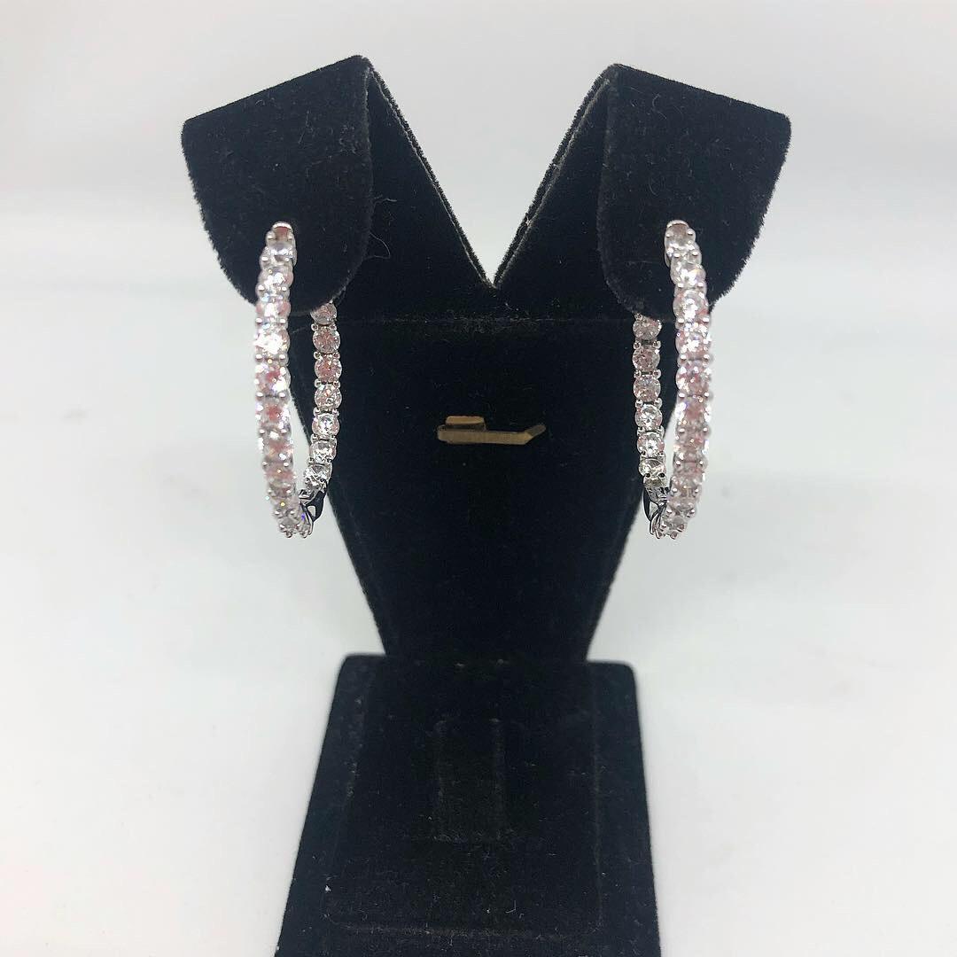 Сережки кільця зі срібла 925 Beauty Bar з доріжкою з цирконію