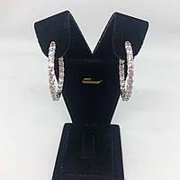 Сережки кільця зі срібла 925 Beauty Bar з доріжкою з цирконію, фото 1