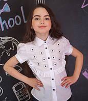 Блузка  с вышитыми ромашками короткий рукав