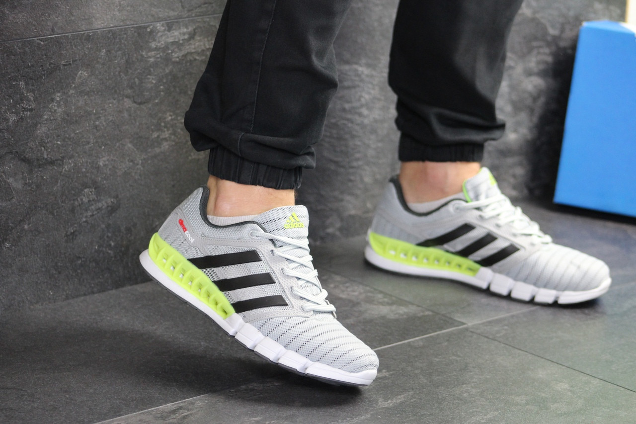 Мужские кроссовки Adidas Clima Cool (светло-серые с салатовым)