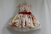 Нарядное платье на девочку с белым подьюпником