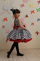 """Нарядное детское платье в стиле """"Стиляги"""" зиг-заг с красным поясом и подьюпником"""