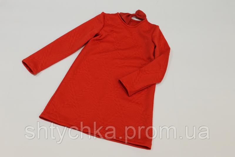 Повседневно - нарядное трикотажное платье на девочку в красном цвете
