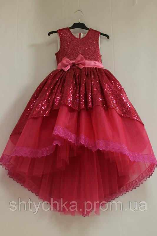 Нарядное малиновое платье на девочку с пайетками