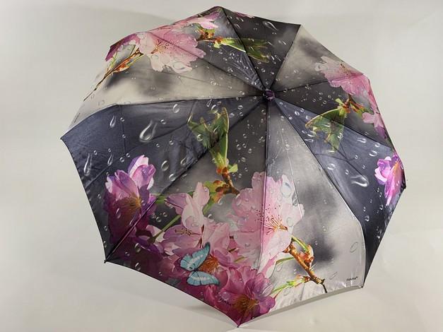 Зонт автомат атласный  на 9 спиц крупные яркие  цветы на темном фоне