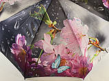 Зонт автомат атласный  на 9 спиц крупные яркие  цветы на темном фоне, фото 5
