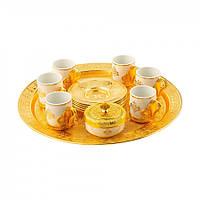 Набор чашек для кофе Золотой Романс на 6 персон