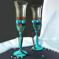 Свадебные бокалы в стиле прованс