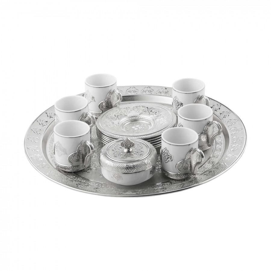 Набор чашек для кофе Серебристый Романс на 6 персон