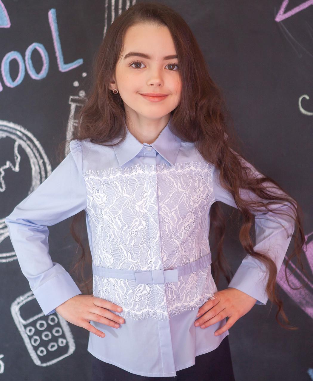 Рубашка для девочки голубая с кружевом