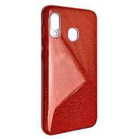 Чехол-накладка DK-Case силикон райский дождик пластик вставка для Samsung A20/A30 (red)