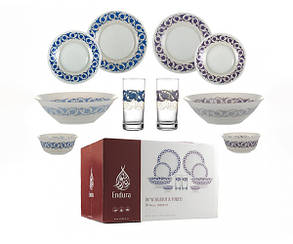 Столовый сервиз стеклянный Endura DAMASK Purple & Blue 50 предметов/12 персон (K6160), фото 2