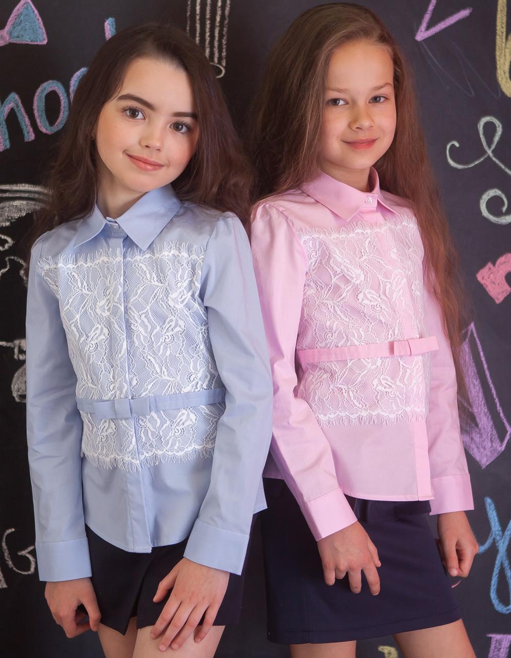 Рубашка для девочки розовая с кружевом