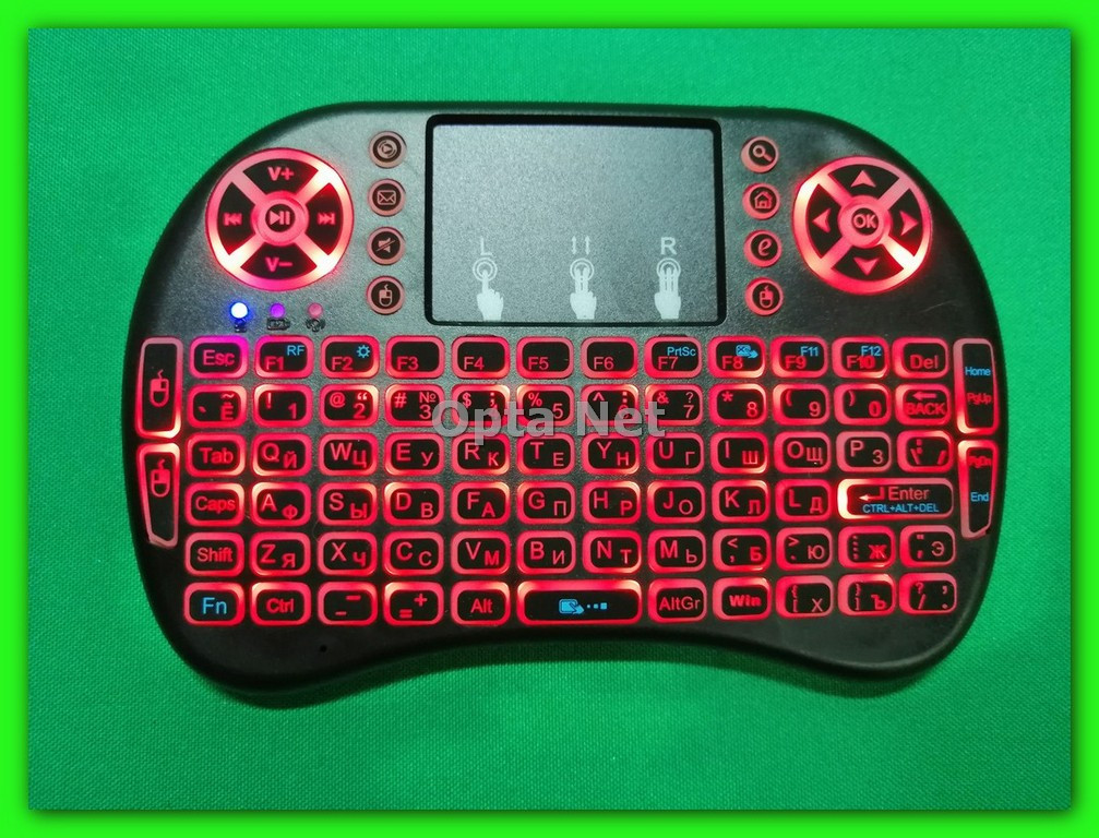 Bluetooth клавиатура с тачпадом RT-MWK08 RED LED подсветка