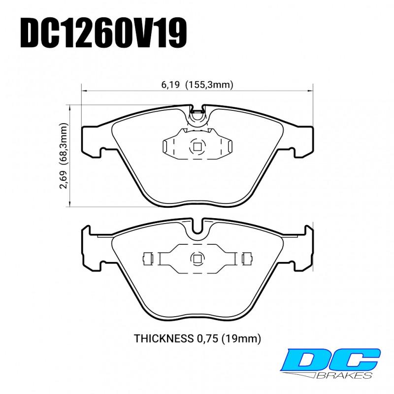 Колодки тормозные передние DC1260V19 DC brakes Street STR.S;  BMW E90,91,92, 335i, M3 E90, E60, E63
