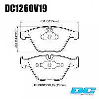 Колодки тормозные передние DC1260V19 DC brakes Street STR.S;  BMW E90,91,92, 335i, M3 E90, E60, E63, фото 1