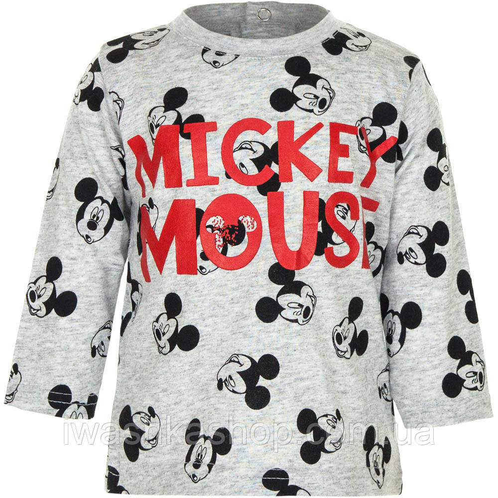 Стильный серый лонгслив с Микки Маусом на мальчика 6 месяцев, р. 67, Disney baby