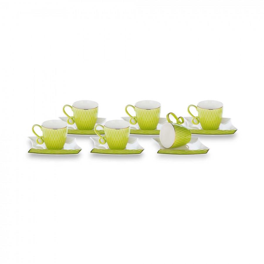 Набор фарфоровых чашек для кофе салатовый на 6 персон