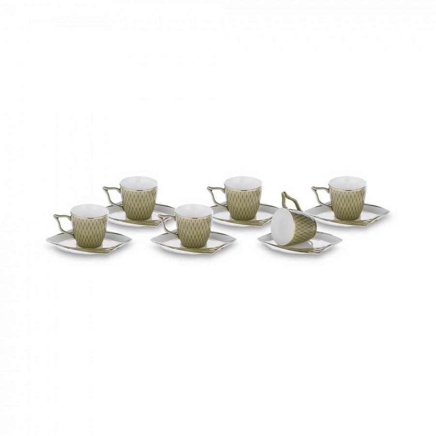 Набор фарфоровых чашек для кофе коричневый на 6 персон