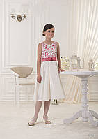 Изящное атласное детская платье с аппликацией и цветным бантом