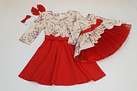 Нарядные платья на маму и доченьку с красным низом