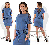Летнее джинсовое платье батал с кулиской и карманами r8328