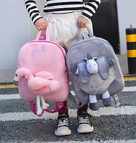 Оригинальный тканевый рюкзак с мягкой игрушкой в кармане единорог/фламинго