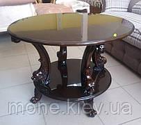 Журнальный столик со стекляной столешницей и резными ножками №12