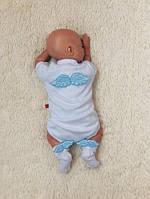 Нарядный комплект Ангел, боди+носочки (голубой)